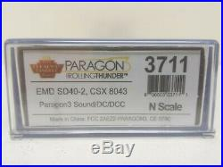 Broadway Limited EMD SD40-2, CSX RR #8043 Paragon3 Sound/DC/DCC 3711 N Scale