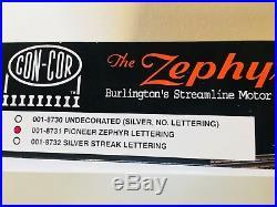 Burlington Zephyr-Sound & DCC Decoder Installed, 4-Car Set, N Scale Con-Cor