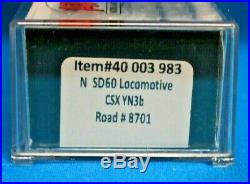 N Scale ATLAS GOLD 40 003 983 CSX CSXT YN3b SD60 Loco # 8701 DCC & SOUND